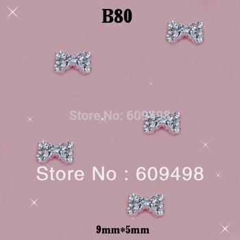 B80 Silver Alloy Metal 3D Alloy Clear Crystal Rhinestone 5X9MM Bow Bowknot TIe Acrylic Salon Nail Art Tips Decoration 100pcs/lot