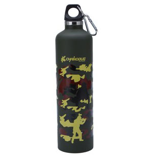 Stainless steel double layer thermal bottle outdoor sports bottle insulating glass Camouflage kettle(China (Mainland))