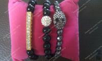 Crystal Pave Bar Bracelet, Shamballa Beads And Skull Bracelet Set BS035