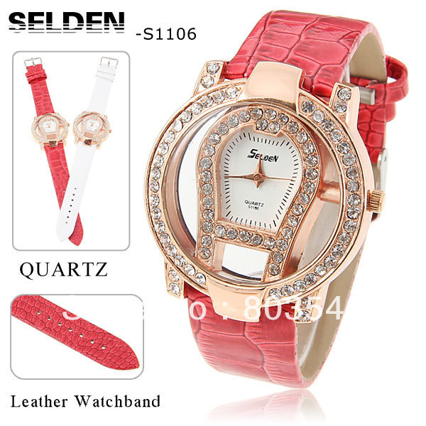 Sample Selden S1106 Fashion Quartz Lady's watch Rhinestone Decoration Leather Wrist Watch with Hollow Dial for Women Xmas gift(China (Mainland))