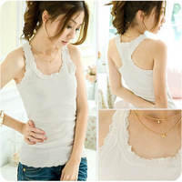 6pcs/lot Free shipping Lace tank female long design basic shirt spaghetti strap top spaghetti strap vest basic vest