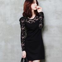 2012 autumn new arrival black lace plus size clothing long-sleeve slim one-piece dress