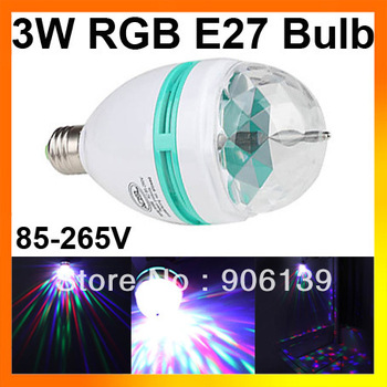 Wholesale 3W RGB E27 Colorful Auto-rotation LED Bulb for Party Disco Stage 85-265V