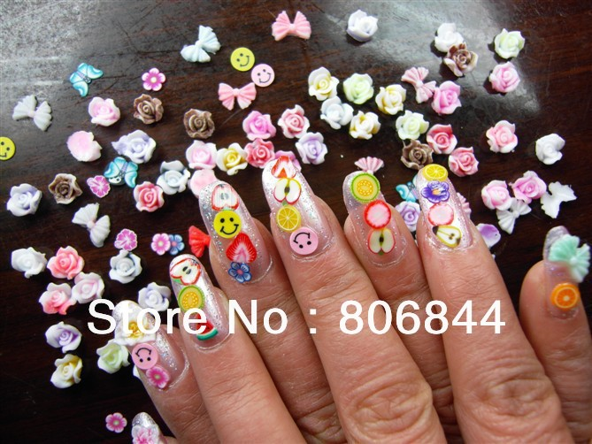50 x 120pcs mix fruit fimo slice uv acrylic 3d nail art for Acrylic nail decoration supplies