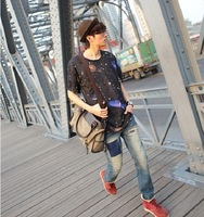 2012 new authentic men's canvas shoulder bag diagonal casual Korean Shoulder school bag diagonal package