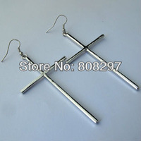 DIY Free Shipping Hot Charms Silver Plated Metal Sideways Cross Drop Earrings Jewelry Finding For Women 30pair/lot