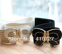 2012 summer new fashion woman bow rhinestone diamond cummerbund women's decoration elastic wide dress belts free shipping