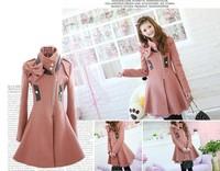Femme Hiver Pink Bow manteau de laine jacket coat trench Veste