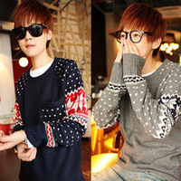 Autumn and winter hot-selling long-sleeve sweater fashion polka dot o-neck pullover sweater male
