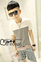 2012 summer short-sleeve T-shirt male stripe personality