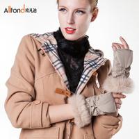 Women's cloth casual gloves yarn flip keyboard gloves winter warm thermal wool fabric gloves