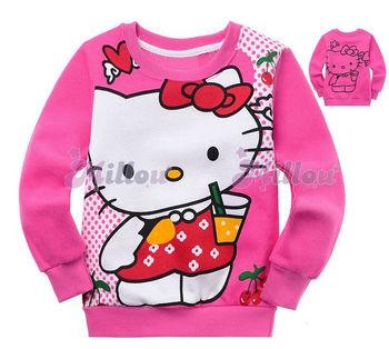 Free shipping Girls Cute Hello Kitty Hoodie Hoody /Kids fleece Jacket, 6 pcs/lot(2~7 years) Children Clothing Kids wear