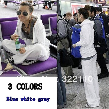 2013 spring fashion Women Sport suit Casual clothes White Blue Gray 2 piece suit Hoodies Tracksuit
