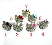 <Min.order $15,can mix models> Full rhinestone bow silver hello kitty ring diameter adjustable
