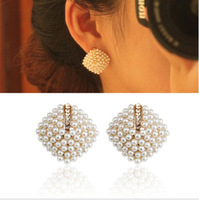 0450 stud earring pearl rhombus stud earring exaggerated earrings vintage women's big stud earring