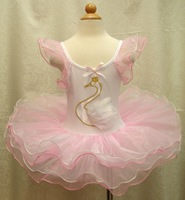 Wholesale summer girl swan flower ballet dance one-piece dress pink TUTU 5pcs/lot