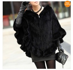 Real Mink Fur Knit Shawl With Hoody Ladies Poncho Winter Women's(China (Mainland))