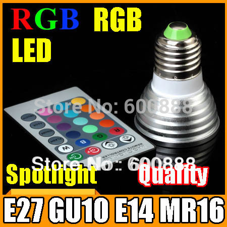 [RGB LED Spotlight] Wholesale 9W 16 colour E27/GU10/E14/MR16 led bulb RGB Spot light + IR remote control Fast shipping(China (Mainland))