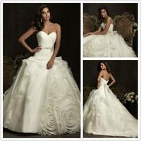 Free shipping BAE-1124 Ball gown Sweetheart Beading Flower Organza Chapel Write/Ivory Wedding Dress Custom-made