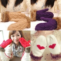 2012 Gift lovers Design Handmade Knitted Twisted Thickening Fur Halter-neck Yarn Gloves Good Gift st001