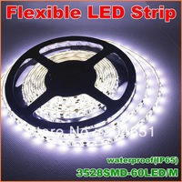 High quality 5m/300LEDs 3528SMD Flexible LED Strip Light  (white FPC board) Waterproof  IP65  LED car lights free shipping