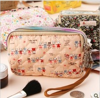 Cute little bear chintz cosmetic bag sewing cotton cross paragraph three zipper change purse P2427