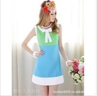 Женское платье new fashion White-collar Slim tight the temperament puff short-sleeved dress blue S, M, L retail