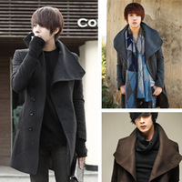 Men's Winter Warm Pea Long Wool Trench Coats Fashion Turtleneck Single-Platoon Windbreaker Black Gray Coffee