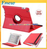 Free shipping by dhl Magnetic Smart Cover Embossed leather Case for ipad 3, New Ipad with 360 Degrees Rotating Stand