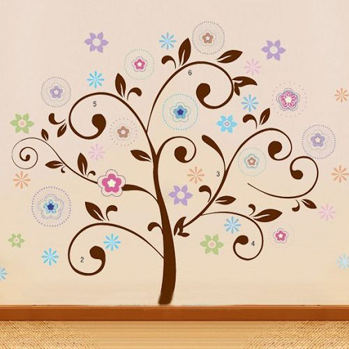 50*70cm 3pcs Freeshipping Colorful lucky tree wall sticker sofa tv backgroud wallpaper tree paper plant removable wall quotes(China (Mainland))