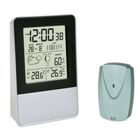Cheap freight cost wireless thermometer hygrometer clock  with sensor best for  Chrismas gift