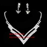 The bride accessories wedding dress necklace wedding jewellery accessories rhinestone necklace earrings necklace chain sets set