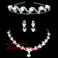 The bride wedding decoration accessories wedding jewellery pearl necklace hair accessory necklace earring chain sets set piece