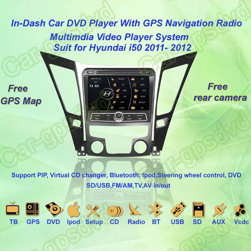 Free Shipping! 2011, 2012 Hyundai I50 GPS Navigation DVD Player ,TV,Multimedia Video Player system+Free GPS map+Free camera(China (Mainland))