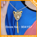 Cheap fashion jewelry.Vintage necklace.Imitation drill.leopard head.Tassels.Women's.Free shipping.12 pcs/lot.New