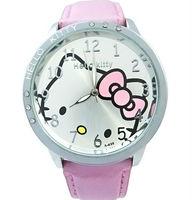 Free shipping New Quartz Hello Kitty Watch Girls Lady Steel Quartz Wrist Watch Cute Girl PU Leather watches gift C204I