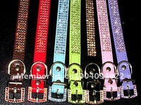 Christmas/festive gifts ,3 or 4 lines Czechic rhinestone dog collar and leashes,five colors for choose