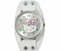 1PCS New Hello Kitty Wristwatch For Kid Children Girl Lady hellokitty Quartz watches PU Leather Watch Gif W332W Free Shipping