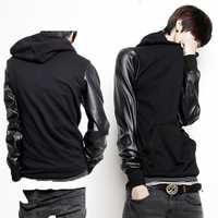 Leather Patchwork Jumper Men/ Spring Fashion 2014 Hoodie Man/ Boy's Sweatershirt/ Mens Faux Leather Hoodie XXXL