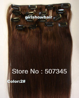 """Free shipping-Inch 15""""18""""20"""" 22'' clip in 100% remy human hair extensions, clip in hair 7pcs, human hair,color 2 #,70g/7pcs/set"""