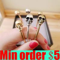 Double Skull Heads Bangle Retro Skull Open Bangle Cuff Bangle Free Shipping A154