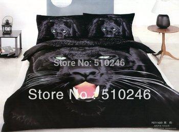 free shipping 4pcs cotton satin 3D animal printed black panther livingroom bedroom bedlinen duvet cover set bedding set
