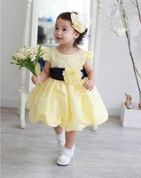 2013 NEW noble princess dress/Retail baby girl dress,HIGH Quality with white pearl+cute waistflower/90100110-120 honey baby HB21