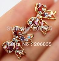 Cute Fashion Graceful Colorful Rinestone Bowknot Earrings Studs,Bow Earring