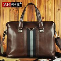 Zefer 2012 cowhide male handbag horizontal laptop bag / geunie leather business briefcase az082