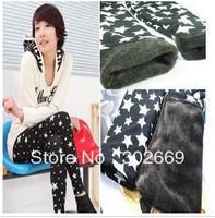 2283 Large size women's Leggings star pattern thicken warm elastic  tight pants 5pcs/lot  free shipping