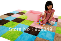 New DIY Living Room Bedroom Anti-slip Corals Flocking Carpet Multicolor 30*30cm Children Mat Pad 9pcs