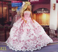 low price good quality Free shipping 1set Handmade Party Doll's Dress  Clothes veil  For Bbarbie best baby christmas gift