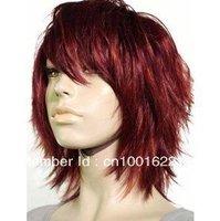 fashion short red women's human made hair wigs wigs