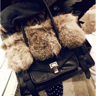 Gossip Girl Designer bag 2012 fashion women&#39;s fur PU handbag messenger shoulder bag motorcycle purse ,Free shipping(China (Mainland))